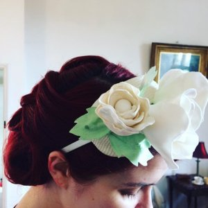 White and green flower headband.