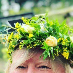 Alison wearing a flower crown.