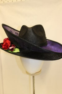 Black and purple double brim bespoke hat.