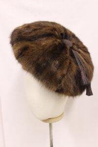 Fake fur hat with tassle.