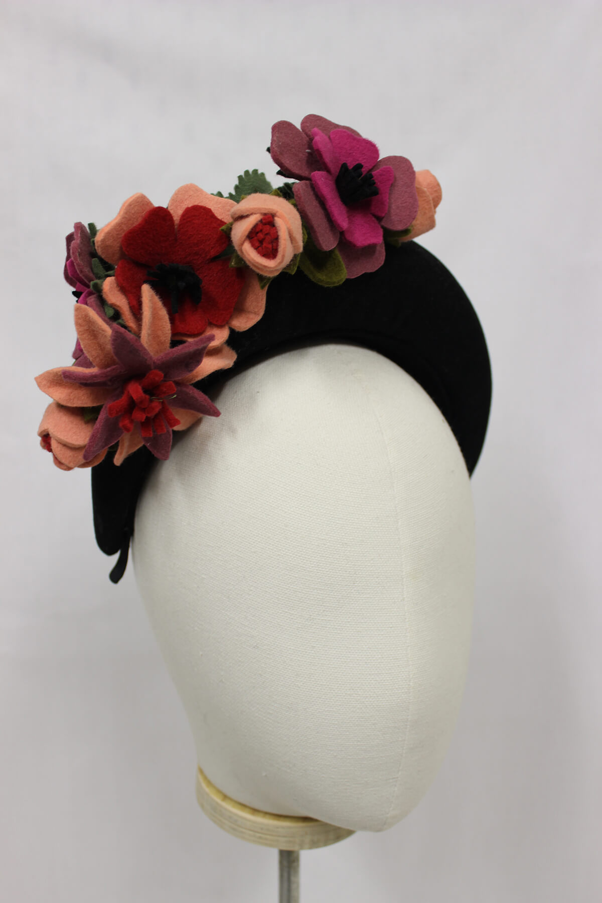 Felt flower hairband millinery available to buy.