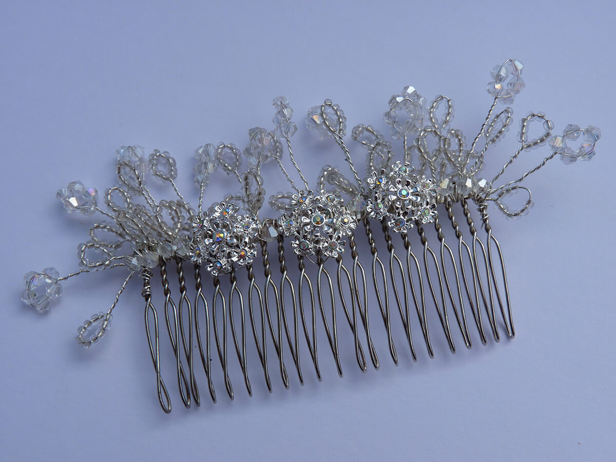 handmade beaded comb.