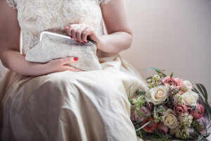 Wedding clutch bag with flowers.