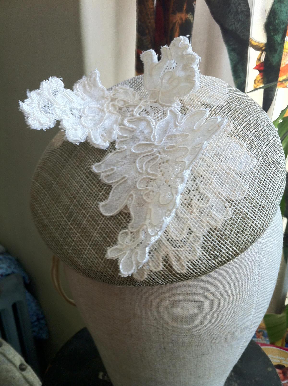 Lace work bespoke hat.