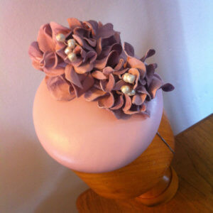 Pink leather bespoke hat.