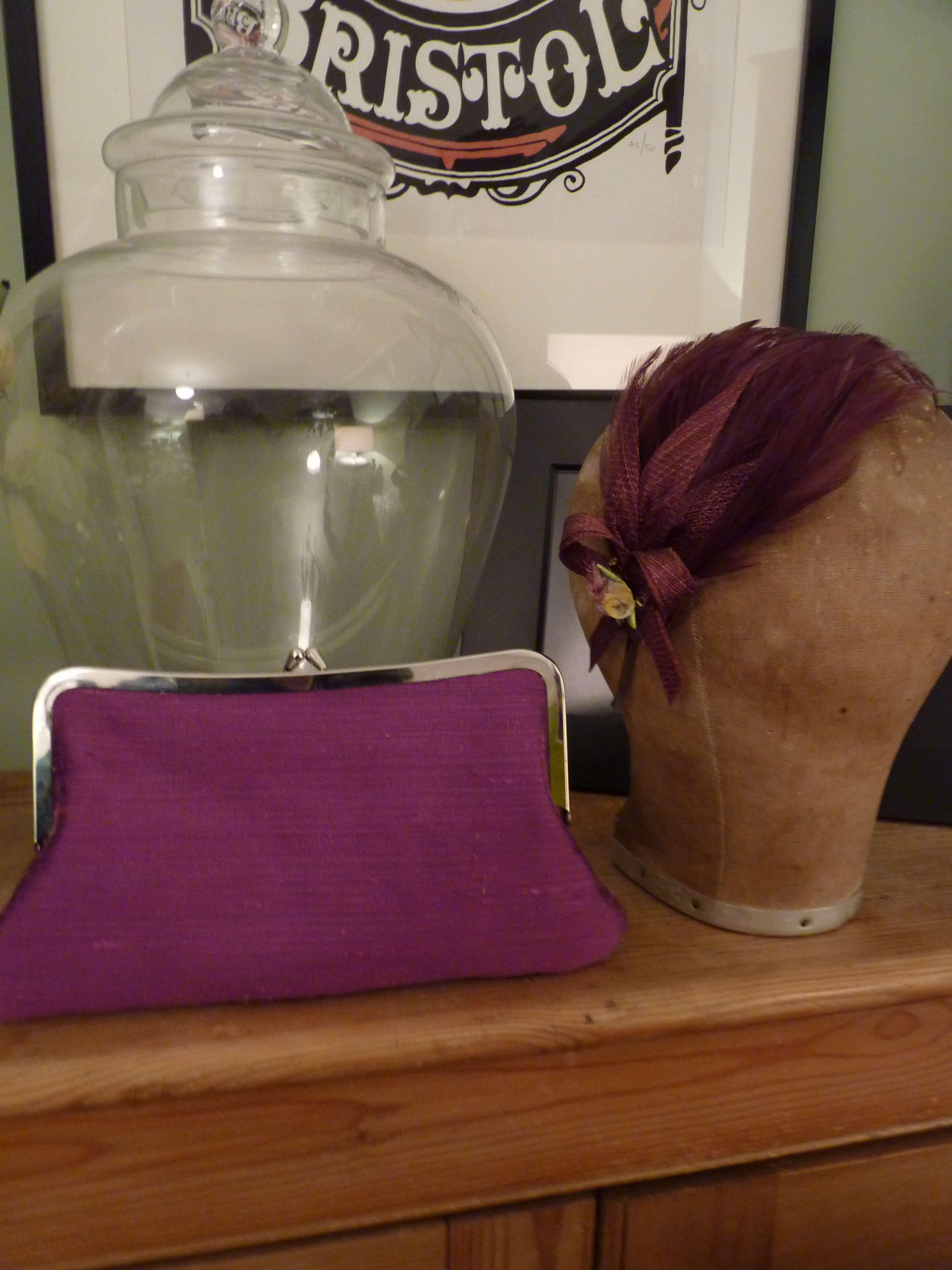 Bristol Clutch bag with matching bespoke hat.