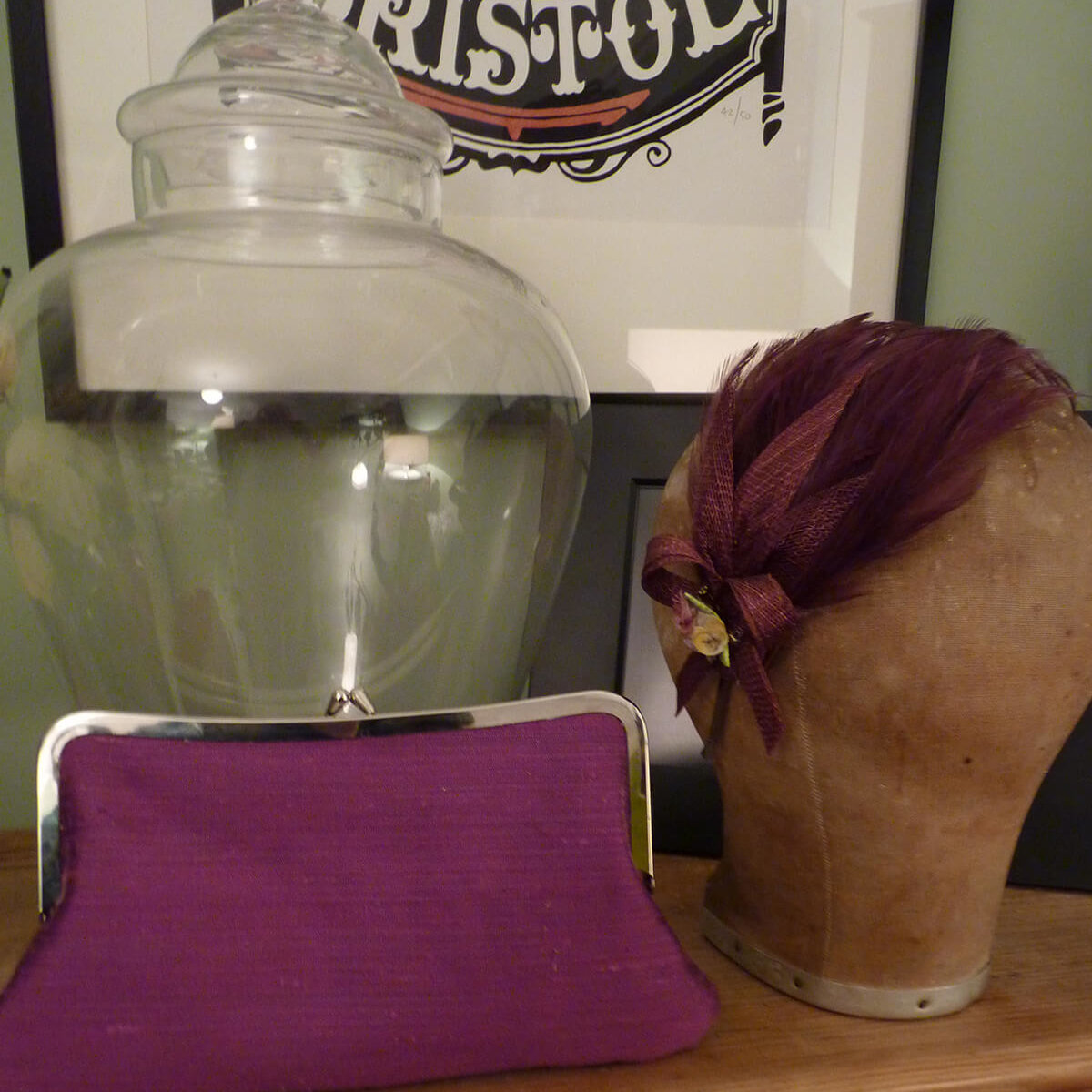 Bristol clutch bag and matching hair piece.